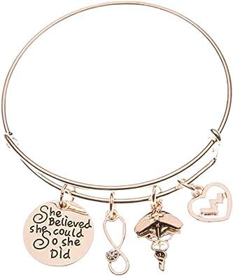 Initial Charm Nurse Bracelet Custom Bracelet Personalize Gift Initial Bracelet Charm Bracelet Nurse Bangle RN Bracelet