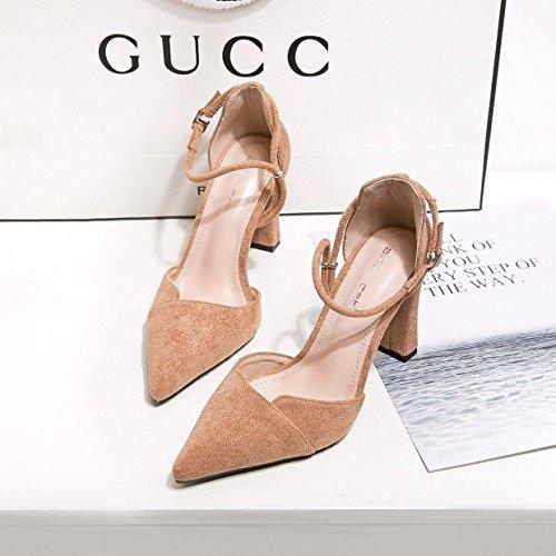 rojo coreana hueco delgado zapatos satén tacón ZHZNVX mujer de alto de punta zapatos alto tacón video la versión sexy zapatos los con de tacón La de Khaki del matrimonio de de luz espesor boquilla la de de q4zFzEp