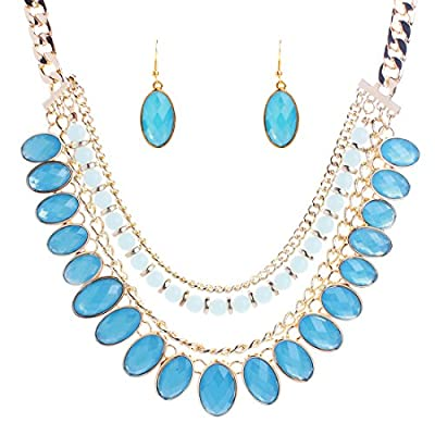 New Kissweet Summer Party Oval Jewelry Set Dangle Drop Earring Multilayer Necklace Sets for cheap