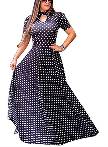 (Aublary Women's Floral Maxi Dress Short Sleeve Faux Wrap Maxi Long Dresses with Removable Belt (Polka Dots, S))