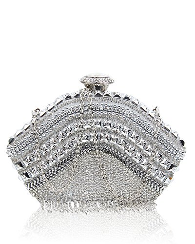 Sparkling Clutch Bag Evening 1 Silver Women's Crystals Foxlady silver Prom Wedding Diamante Shiny Bag Party qn7IEp