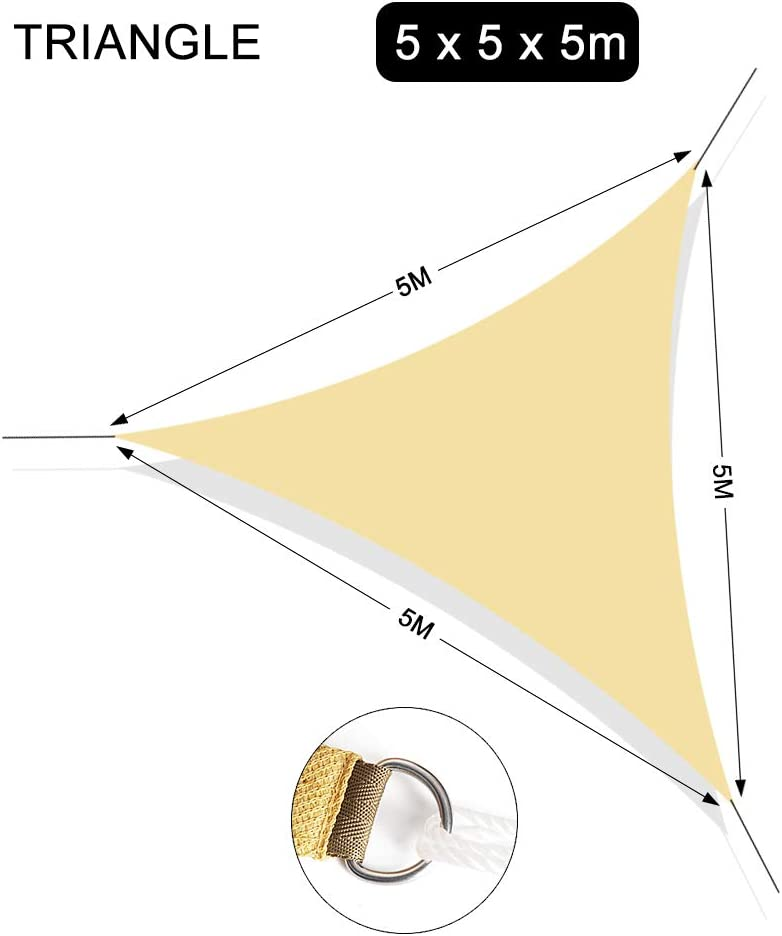 Chihee Vela Parasole Blocca UV 3.6 x 3.6m Quadrata Tenda Parasole 180GSM HDPE Parasole antimuffa Tendone con 2 m Fune Libera per Aria Aperta Giardino Patio Piscina Area Barbeque