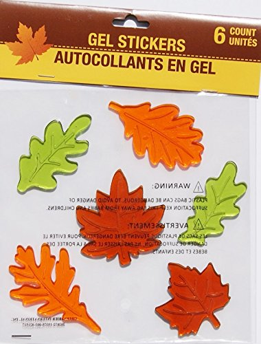 Autumn Fall Themed Gel Cling Set - Colorful Leaves - 6 Piece Greenbrier International Inc