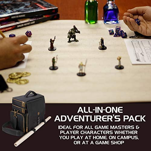 ENHANCE Tabletop RPG Adventurer's Bag - Dungeons & Dragons Travel Bag fits Player's Handbook, Dungeon Master's Guide & More - Padded Mini Figure Storage, Dice & Token Pockets (Fits 4-8 Books) by ENHANCE (Image #7)