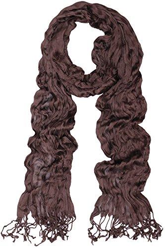 Dark Brown Wrap - KMystic Solid Plain Lightweight Wrinkled Scarf (Dark Brown)