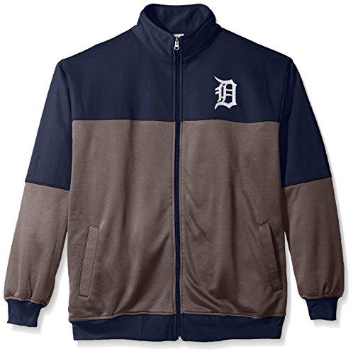 Detroit Tigers Mens Jackets (MLB Detroit Tigers Men's Poly Fleece Yoked Track Jacket with Wordmark Logo, 2X/Tall, Navy/Gray)
