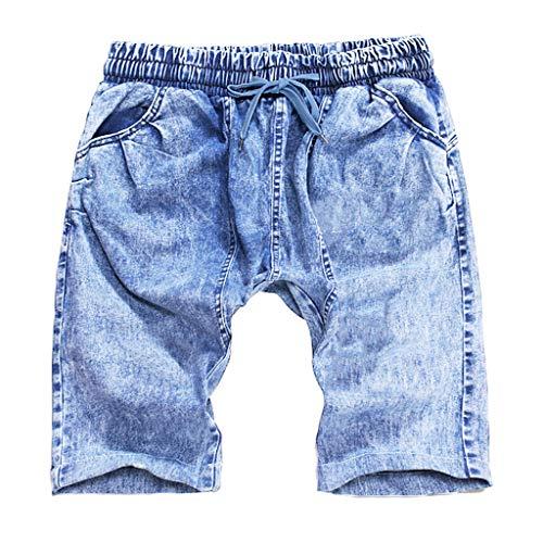 Homme Denim Pants - iHPH7 Short Jeans Men Denim Shorts Jeans Pants Pocket Casual Slim Fit for Men Men Summer Short Jeans Hommes Jean Shorts Skate Board Harem Fashion Jean 3XL Light Blue