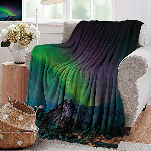 XavieraDoherty Travel Throw Blanket,Northern Lights,Southern Iceland on Sky Over Rocky Hills Wild Night View,Lime Green Dark Blue Violet,Super Soft and Warm,Durable Throw Blanket 60
