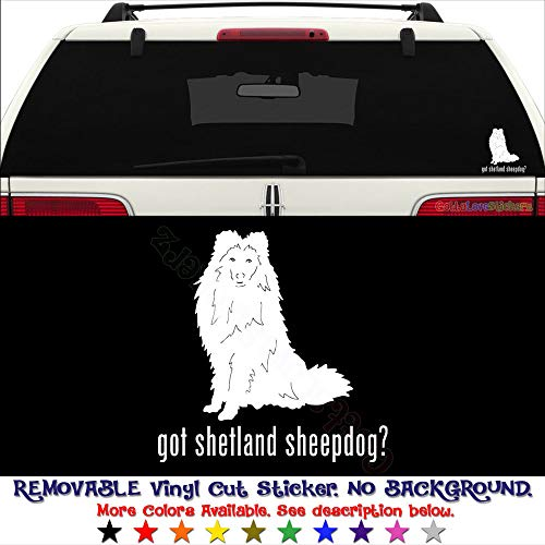 (GottaLoveStickerz Got Shetland Sheepdog Pet Permanent Vinyl Decal Sticker for Laptop Tablet Helmet Windows Wall Decor Car Truck Motorcycle - Size (10 Inch / 25 cm Tall) - Color (Gloss Black))