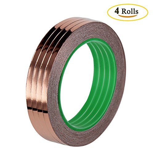 Benail 4 Rolls Copper Foil Tape with Conductive Adhesive (1/4inch X 21.8yards) for EMI Shielding, Slug Repellent, Art Work, Soldering, Paper Circuits, Electrical Repairs, Grounding (Electronic Copper)