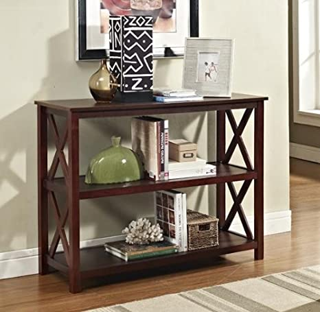 Amazon.com: Espresso Occasional Console Sofa Table Bookshelf: Kitchen U0026  Dining