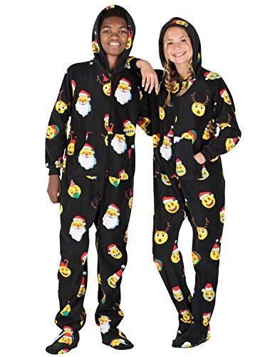 Footed Pajamas - Merry Emoji Xmas Kids Hoodie Fleece Onesie (Kids - Large (Fits 4'9-4'11