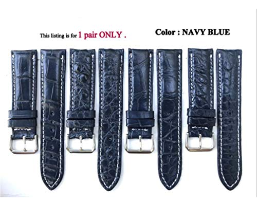 22mm Genuine CROCODILE/ALLIGATOR Skin Leather Watch Strap Band for men Handmade (NAVY BLUE Leather/WHITE Stitching) #6