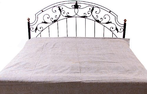 Grey Stonewash Bedspread with Embroidery in Golden Thread - Pure Cotton B004WJ51OU