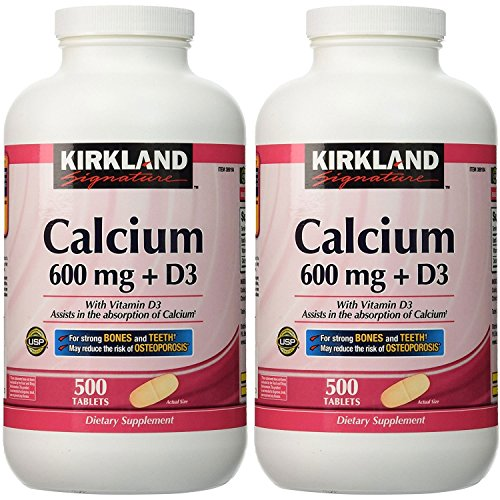 2 Pack Kirkland Signature Calcium 600 mg + D3, 500 Tablets Each