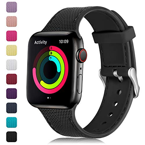 (GEAK Stylish Band Compatible with Apple Watch Band 40mm 38mm for Women Men,Soft Silicone Replacement Wristband with Stainless Steel Buckle for iWatch Series 1/2/3/4,38mm/40mm S/M Black)