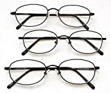 (3 PACK + BONUS) Magnivision +1.75 TITANIUM (T4) Black Oval Metal Wire Rim Reading Glasses + 1 FREE BONUS TRAVEL GLASS POUCH & 1 MICRO-SUEDE CLEANING CLOTH