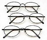 (3 PACK + BONUS) Magnivision +1.50 TITANIUM (T4) Black Oval Metal Wire Rim Reading Glasses + 1 FREE BONUS MICRO-SUEDE CLEANING CLOTH