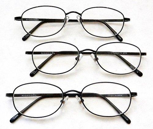 - (3 PACK + BONUS) Magnivision +1.50 TITANIUM (T4) Black Oval Metal Wire Rim Reading Glasses + 1 FREE BONUS MICRO-SUEDE CLEANING CLOTH