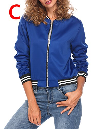 Zeagoo Women's Graffiti Print Short Bomber Jacket Coat, Blue2, Medium (Satin Coat Print)