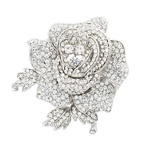 SEPBRIDALS Rose Flower Brooch Pin with Rhinestone for Women Birdal Girl Prom Jewelry (White) ()
