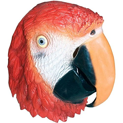 [Adult Latex Red Parrot Macaw Mask] (Yellow Beak Costume)