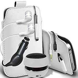Fone-Case Samsung Galaxy i8190 S3 Mini Protective PU Leather Pull Cord Slip In Pouch Quick Release Case With Mini Capacitive Retractable Stylus Pen, 3.5mm In Ear Earphones, Mini Rechargeable Capsule Speaker, 12v Micro USB In Car Charger & (5 Pack)LCD Screen Protector Guards (White)