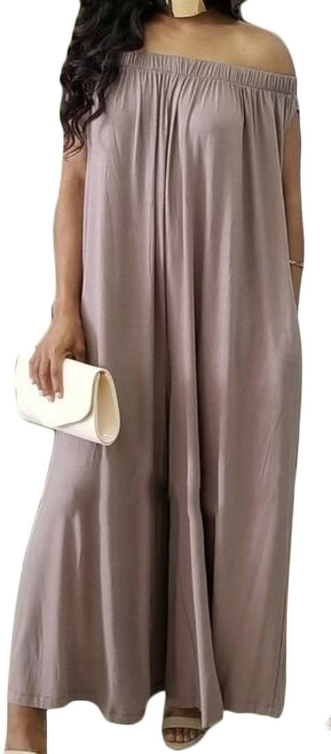 XTX Womens Off Shoulder Relaxed-Fit Casual Pleated Wide Leg Pants Culottes Jumpsuits Coffee Large