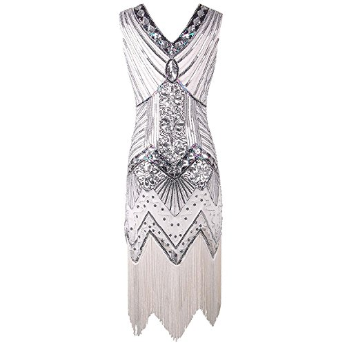 Anni Donna Dress Gatsby 20 Vestito Frange Flapper Vestito Dress 1920s Senza Dress Maniche Donne 1920s Flapper Abito Vestito Comeon Blanco Sera Gatsby da Impreziosito Paillette vv18znp
