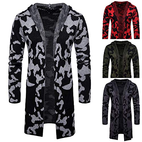 Realdo Mens Camouflage Cardigan Clearance Sale,Fashion Men's Solid Knit Coat Hoodie Jacket Tops Blouse