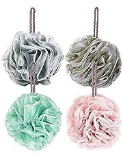 Frdzsw Bath Shower Loofah Sponge Pouf, Mesh Brush Ball Exfoliating Body Scrubber Ball, Shower Essential Skin Care (4 Pack)