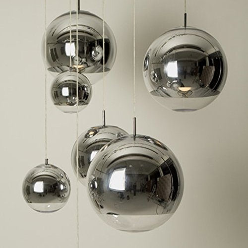 Injuicy Lighting Tom Dixon Ball Silver Electroplate Glass Bar Cafe Art Edison Ceiling Light Pendant Lamp (25CM)