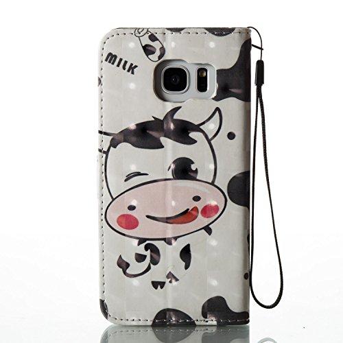 Para Samsung Galaxy S7 edge funda, (mariposas) pintura 3D caja del teléfono de la PU patrón en relieve ,Función de Soporte Billetera con Tapa para Tarjetas correa de mano soporte para teléfono vaca lechera