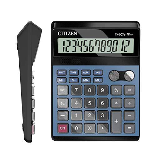 Electronic Calculator,Voice Calculators Electronic Desktop Calculator with 12-Digit Large Display (Blue)