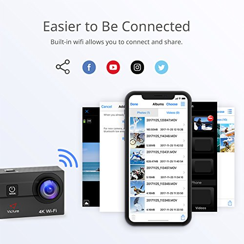Victure-Action-Camera-4K-Wifi-16MP-98Feet-Waterproof-Underwater-Camera-170-Wide-angle-2-Inch-Screen-Sports-Cam-with-2-Rechargeable-1050mAh-Batteries-and-Mounting-Accessories