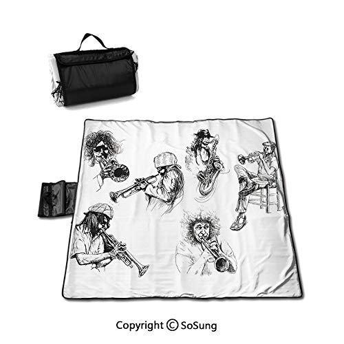 Jazz Music Decor Waterproof Outdoor Picnic Blanket,Sketch Image of Jazz Players Playing Instruments Trumpet and Saxophone Music Decor Sandproof & Waterproof Picnic Mat Tote for Camping Hiking Grass Tr (Best Trumpet Players Of All Time)