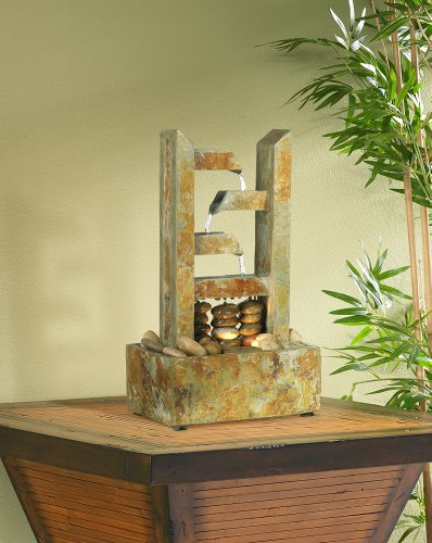 Zigzag Natural Slate Lighted Table Fountain