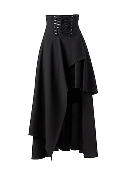 a93804dce6a Naliha Women s Retro Solid Eyelet Lace Up Irregular Bandage Gothic Skirt  Black L