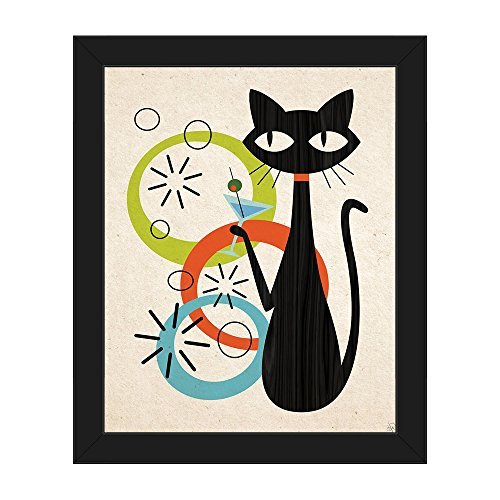Retro Postmodern Martini Cat with Astrobursts & Green, Orange & Blue Bubbles Wall Art Print on Canvas with Black Frame