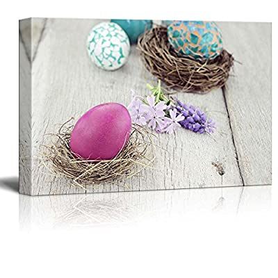 Canvas Prints Wall Art - Beautiful Easter Egg in a Small Nest with Spring Flowers | Modern Wall Decor/Home Art Stretched Gallery Canvas Wraps Giclee Print & Ready to Hang - 12