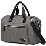 Large Diaper Bag Stylish for Mom and Dad - Convertible Travel Baby Nappy Bags Diapers Tote Purse for Boys and Girls with Changing Pad, Insulated Pockets (Gray) (Gray)