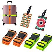 Luggage Straps 4 Pack Suitcase Belts Durable Safety Luggage Strap with 2 PVC Suitcase Tags Travel Accessories-Green and Orange