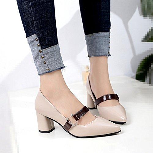 Giy Womens Dress Spetsig Tå Pumpar Loafers Komfort Slip-on Spänne Blocket Häl Tillfälliga Klassiska Dagdrivaren Skor Beige
