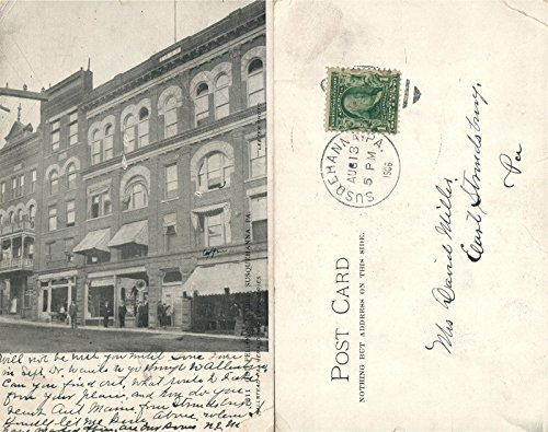 SUSQUEHANNA PA OLD FELLOWS TEMPLE 1906 UNDIVIDED ANTIQUE POSTCARD CORK CANCEL ()