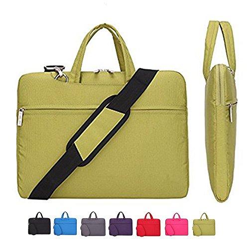 Laptop Case, Laptop Shoulder Bag, CROMI Simplicity Slim Lightweight Briefcase Commuter Bag Business Sleeve Carry Hand Bag Nylon Waterproof Notebook Shoulder Messenger Bag (Yellow, 15.6 inch) (Hello Netbook Kitty Bag)