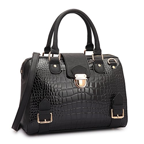 Dasein Women Barrel Handbags Purses Fashion Satchel Bags Top Handle Shoulder Bags Vegan Leather Work Bag Black ()