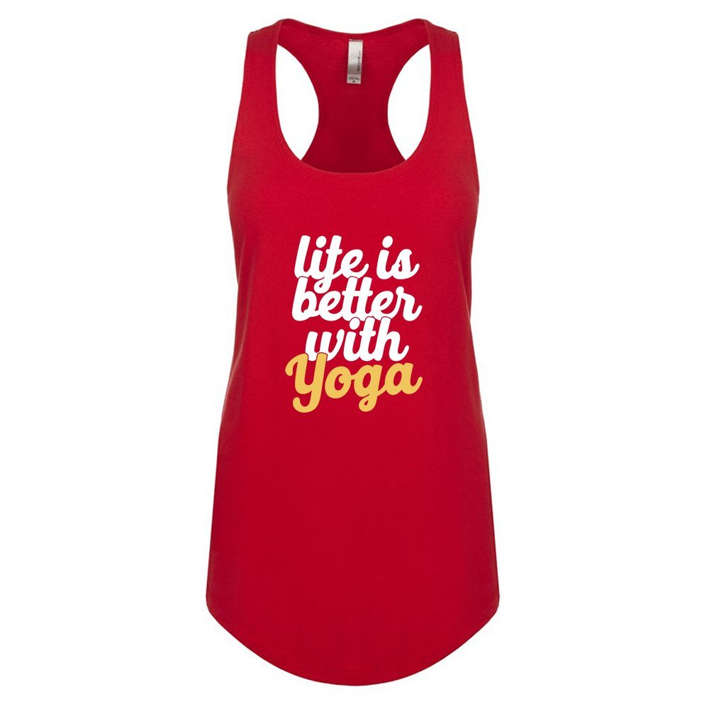 Mad Over Shirts Life is Better with Yoga Unisex Premium Racerback Tank top