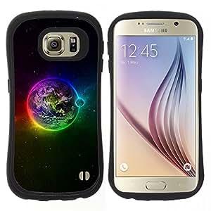 Hypernova Slim Fit Dual Barniz Protector Caso Case Funda Para Samsung Galaxy S6 [ Planète arc Etoiles Lune]