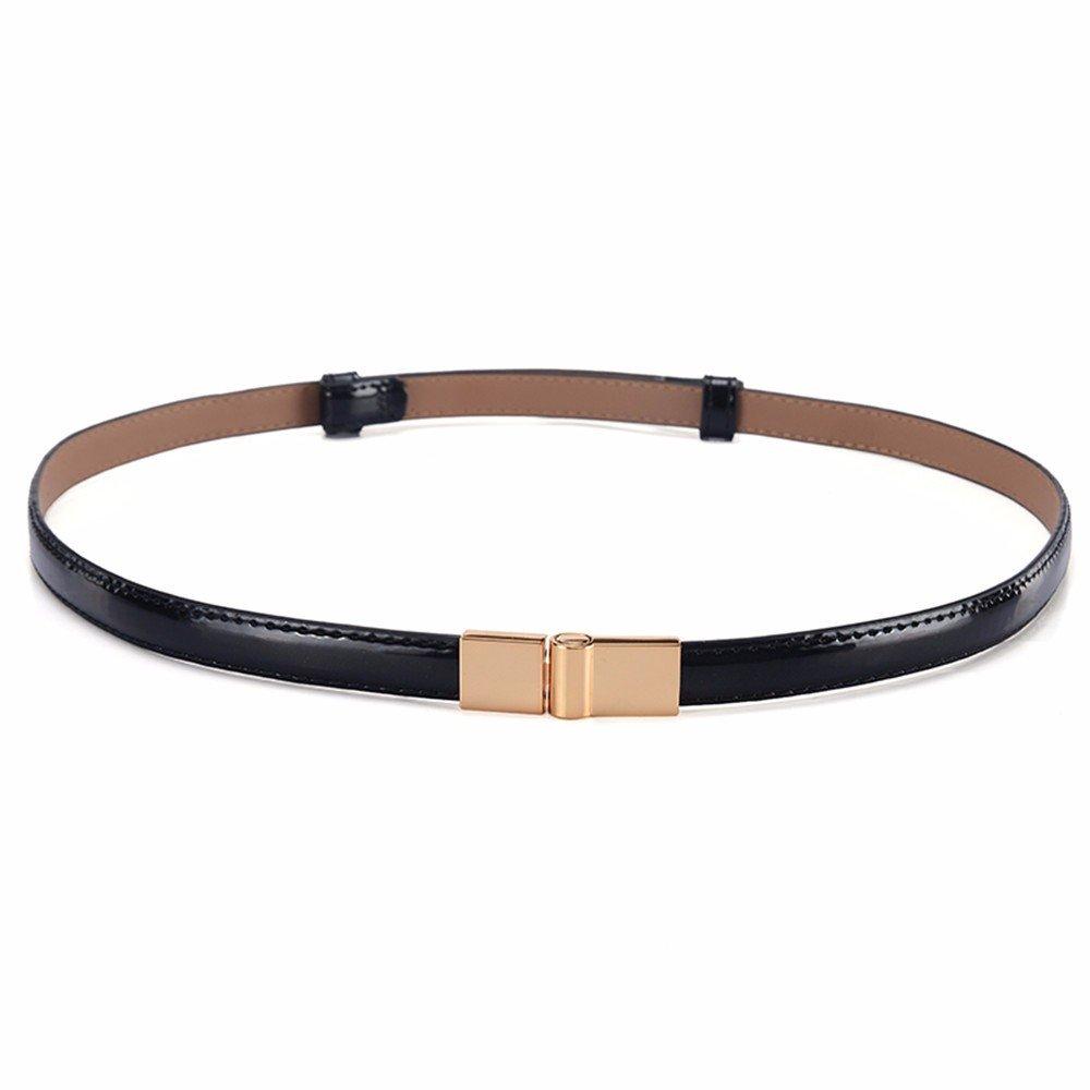 SAIBANGZI Ms Women All Seasons Fashion Leather Waist Fine Simple Decorative Dress Accessory Belt Girlfriend Present Black 94Cm