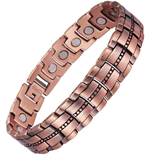 VITEROU 99.95% Pure Copper Magnetic Therapy Bracelet with High Powered Healing Magnets for Arthritis Relief,3500 Gauss ()